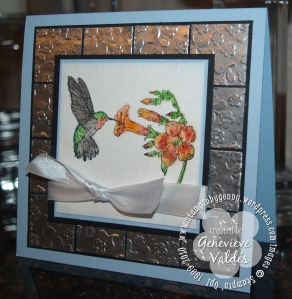 Faux metal technique hummingbird card