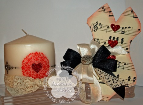 Stampin' Up! Valentine musical corset and Artistic Etchings stamped candle
