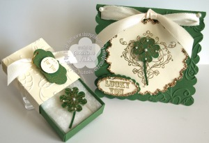 Lucky Four Leaf clover pin gift set