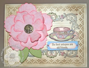 Vintage rose and teacup card