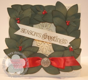 Bay Leaf Square Wreath Card