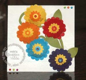 Rainbow flowers card