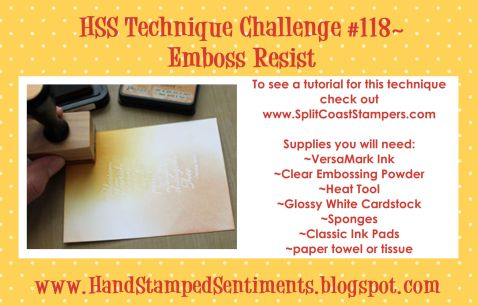 Hand Stamped Sentiments emboss resist