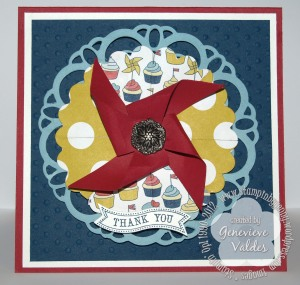 Stampin Up doily pinwheel thank you card
