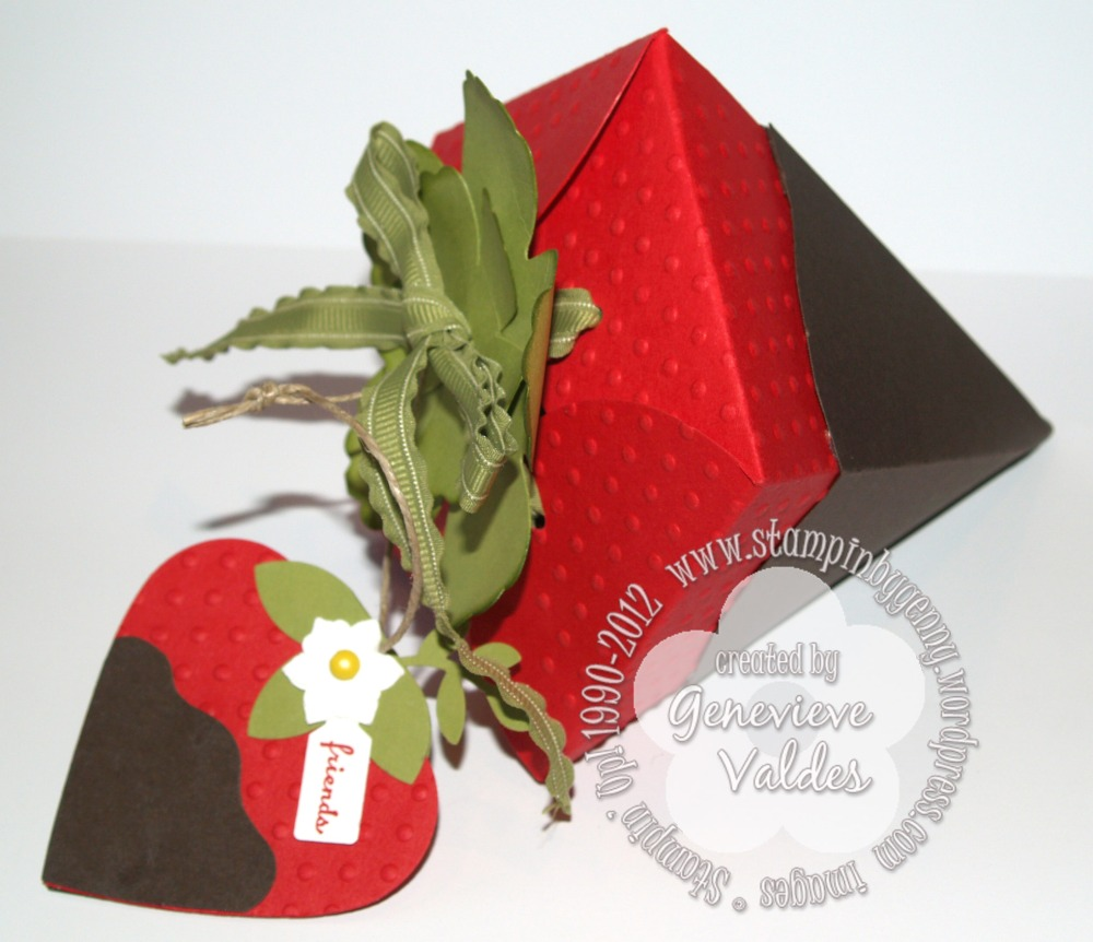 Stampin' Up! Petal Cone Strawberry box and tag (1/4)