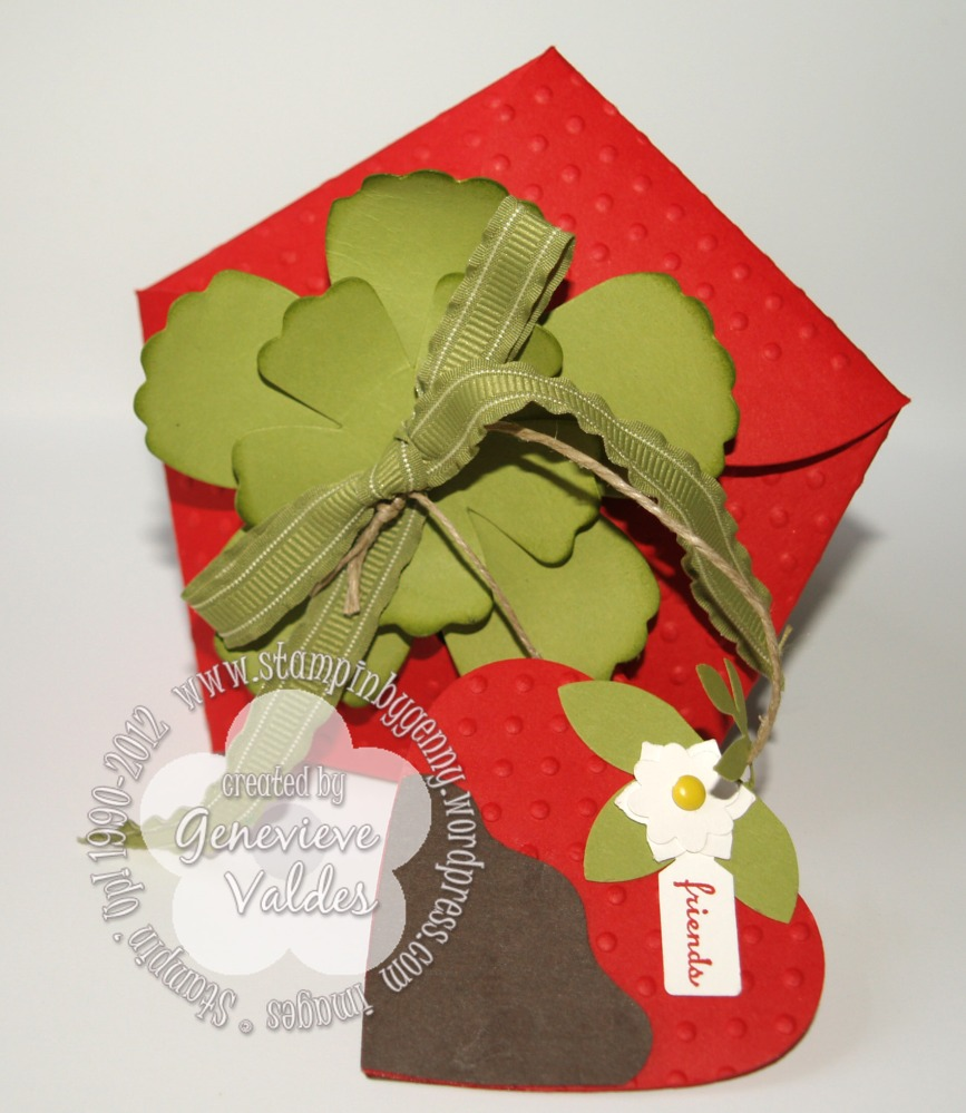 Stampin' Up! Petal Cone Strawberry box and tag (2/4)