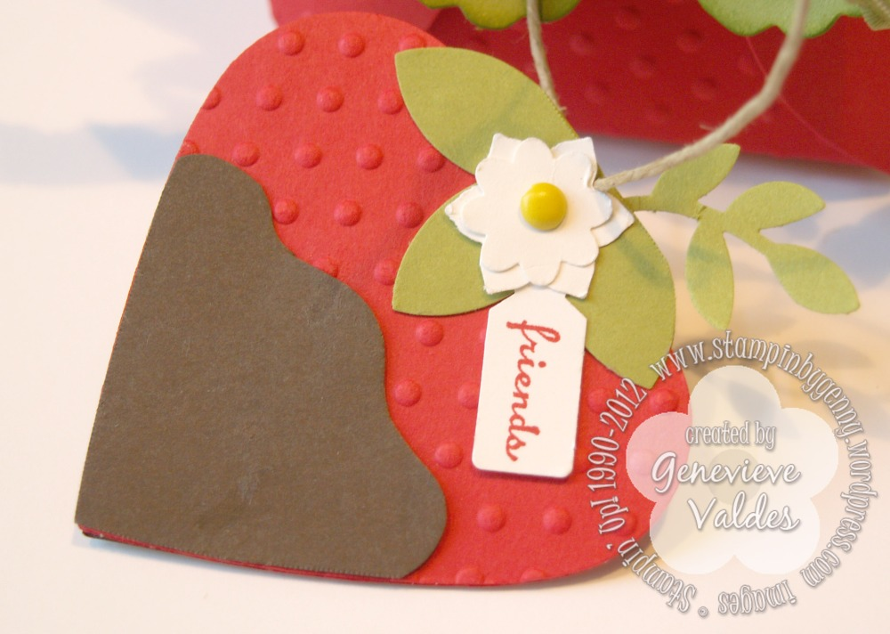 Stampin' Up! Petal Cone Strawberry box and tag (3/4)