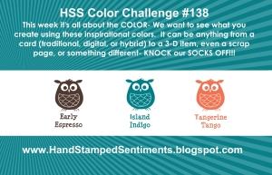 Stampin' Up! Color Challenge Early Espresso, Island Indigo, Tangerine Tango