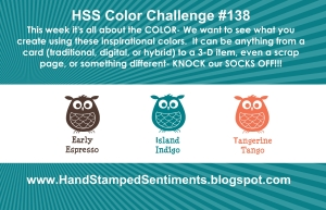 Stampin' Up! Color Challenge Early Espresso, Island Indigo, Tangerine Tango