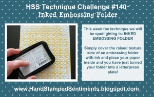 Stampin up inked embossing folder technique challenge