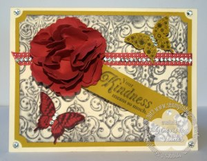 Stampin  up inked embossing Lacy Brocade folder Kindness card