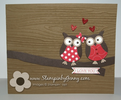 stampin up owl valentine's day card