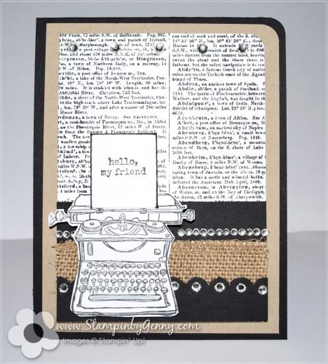 hello friend typwriter card