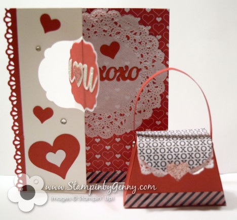 Valentine Stampin up flip card and petite purse