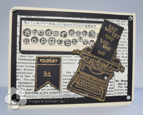 Stampin up typewritter tap tap tap hi card