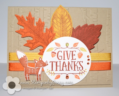 Stampin Up Thankful Forest Friends leaf card