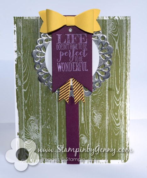 Stampin UP Perfect Penants Hardwood background card