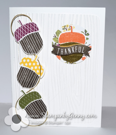 Stampin up Acorny Thank you card