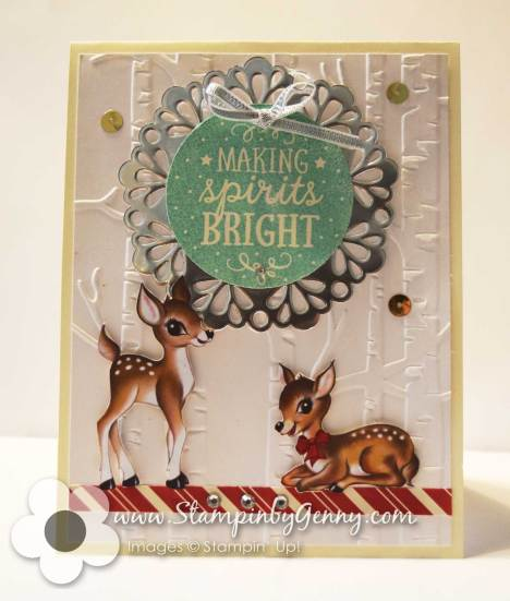 Stamping Up Woodland embossing folder and Among the Branches Christmas card