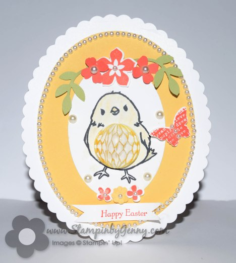 Stampin Up Honeycomb happiness easter egg and chick card