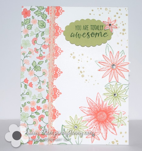 Stampin Up Grateful Bunch card with flowers and lace