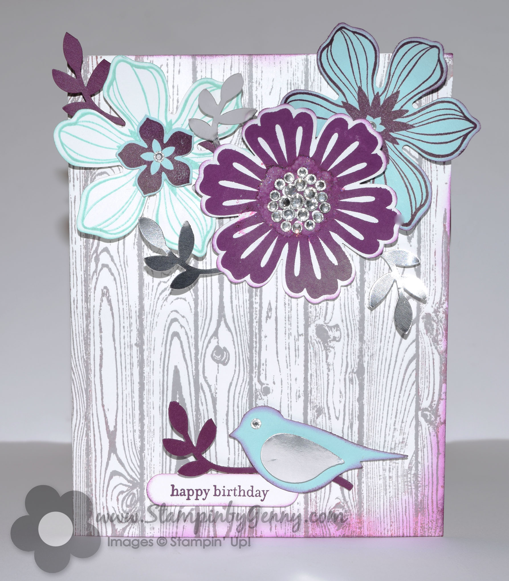 stampin up mixed bunch and beautiful bunch flower birthday card, Birthday card