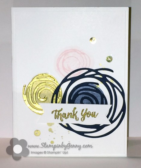 Stampin Up Swirly Bird Thank You with 3 swirlies in gold, pirouette pink and night navy with thank you banner