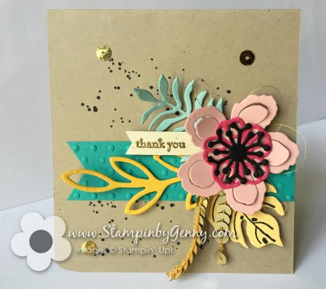 Stampin' Up! Botanical Blooms thank you card with flowers