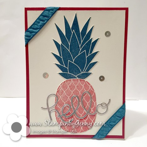 Stampin Up Pineapple card with hello sentiment