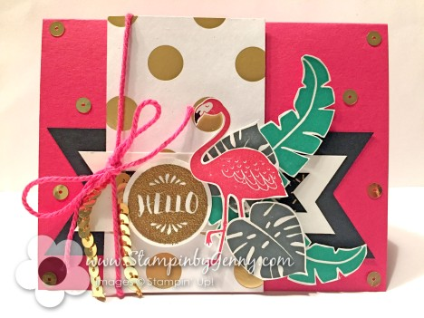 Stampin UP Pop of Pink Hello card