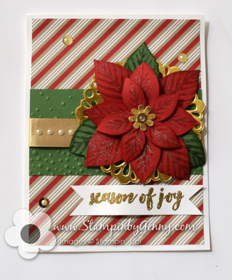 Stampin Up Festive Flower Poinsettia Christmas card