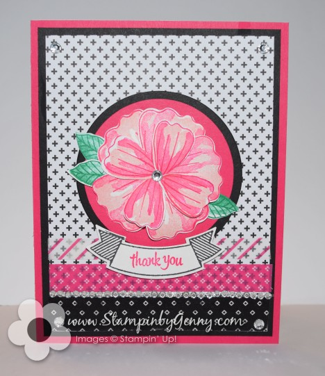 Stampin up Black and pink Bunch of Blossoms Thank you card