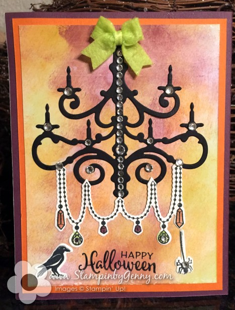 Stampin Up Season to Sparkle Chandelier Halloween card