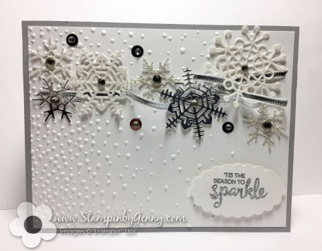 Stampin Up Seasonal Layers Snowflake Christmas card