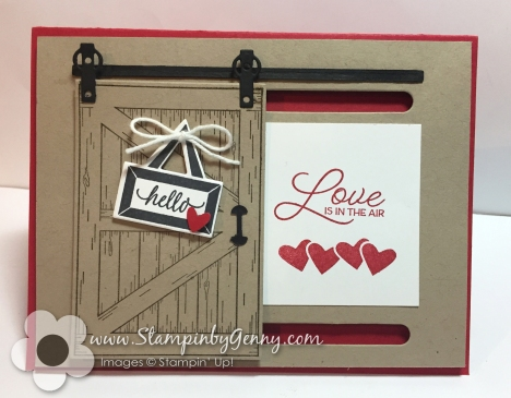 Stampin Up Barn Door Valentine card