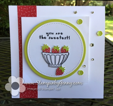 Stampin up Fruit basket bowl of strawberries itty bitty fruit punch pack