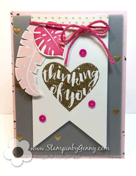 Stampin up cards Thinking of you Pop of Color pink and black cards