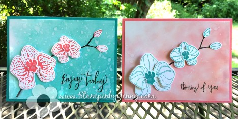 Stampin up Climbing Orchid Thinking of you and Enjoy Today cards in Flirty Flamingo and Bermuda Bay