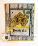 Black and Daffodil Yello Stampin Up Orchid Builder Thank You card