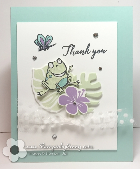 Stampin up Frog So Hoppy Together Thank you card Soft Seafoam, Pool Party and Highland Heather color