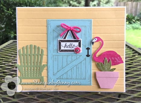 Stampin up card made with barn door and pop of color stamp sets