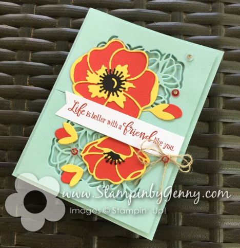Stampin up Peaceful Moments Poppies Friendship card