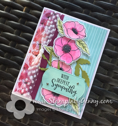 Stampin Up Peaceful Poppies and Stampin Up Peaceful Moments sympathy card
