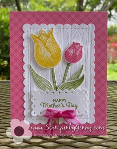 Stampin' Up Mother's day card created with Stampin Up Timeless Tulips stamp set and Tulips builder punch.  The in color of polished pink, daffodil delight and pear pizzazz.