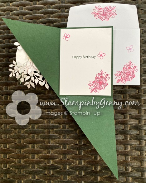 Stampin Up Triangle Fold card created with June 2021 Paper Pumpkin